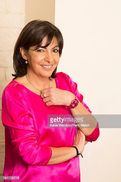 French politican and member of the Socialist party who is running for the post of mayor of Paris Anne Hidalgo is photographed at home with her...