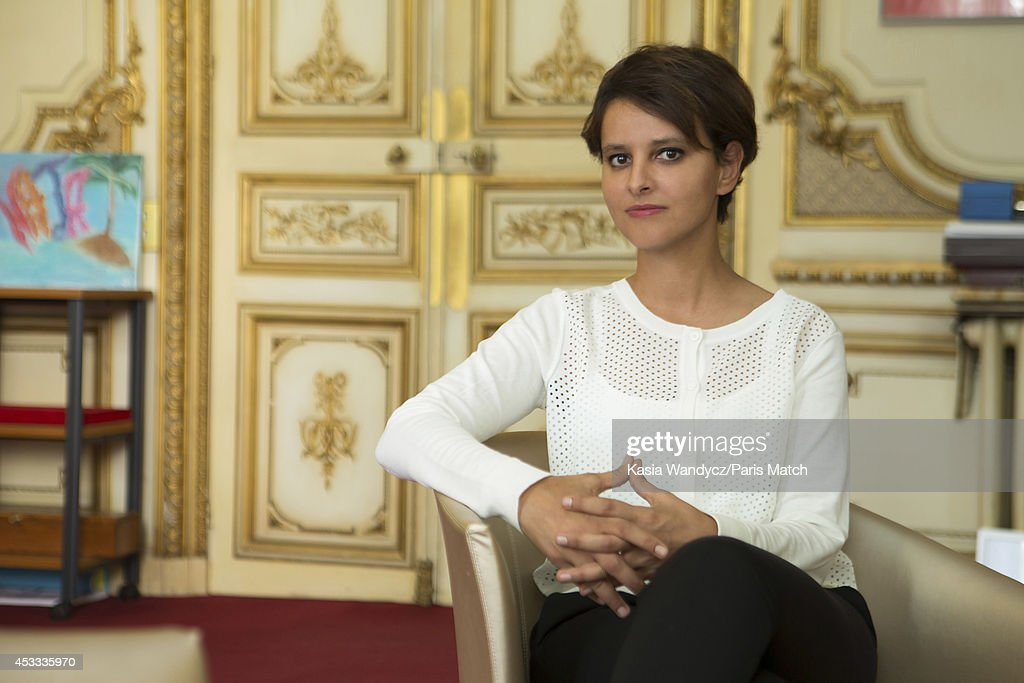 French politician and Minister of Women's Rights, city, youth and sport, Najat Vallaud-Belkacem is photographed for Paris Match on August 1, 2014 in Paris, France.