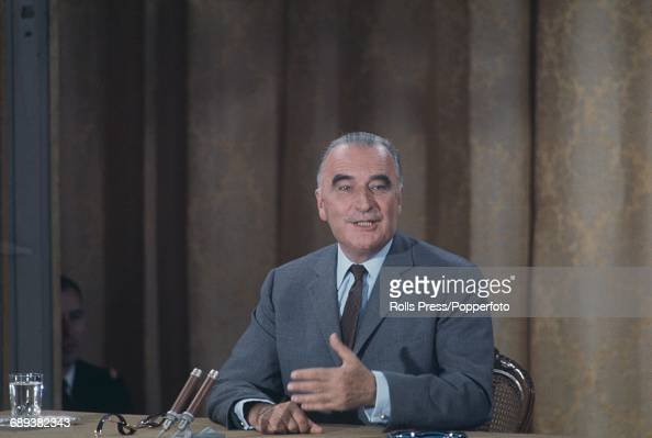 French politician and President of France Georges Pompidou pictured speaking at a press conference in Paris France in July 1970