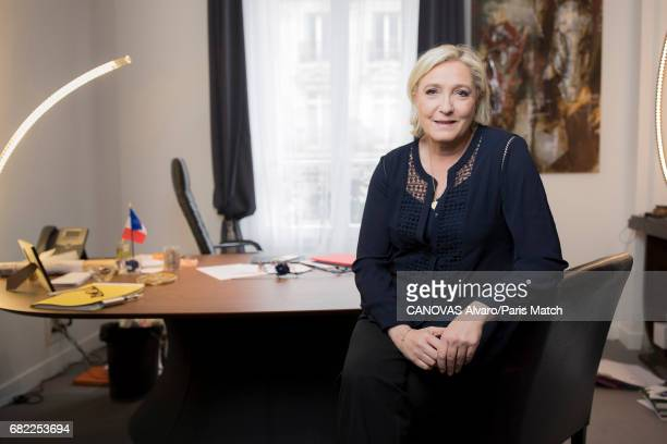 French politician and president of the National Front Marine Le Pen is photographed for Paris Match on April 30 2017 in Paris France