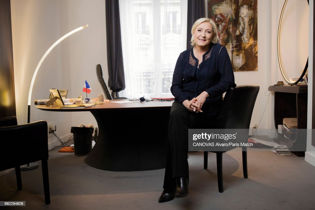 French politician and president of the National Front, Marine Le Pen is photographed for Paris Match on April 30, 2017 in Paris, France.