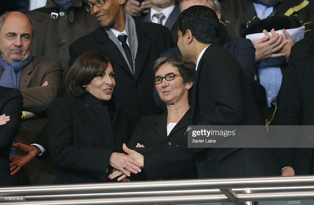 French politician Anne Hidalgo, French Ministor Valerie Fourneyron and President <a gi-track='captionPersonalityLinkClicked' href=/galleries/search?phrase=Nasser+Al-Khelaifi&family=editorial&specificpeople=7941556 ng-click='$event.stopPropagation()'>Nasser Al-Khelaifi</a> attends the UEFA Champions League between Paris Saint-Germain FC and Bayer Leverkusen FC at Parc Des Princes on March 12, 2014 in Paris, France.