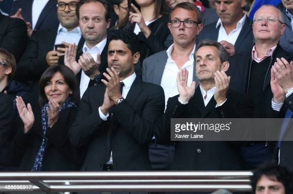 French politician Anne Hidalgo French president Nicolas Sarkozy and Nasser AlKhelaifi attend the French Ligue 1 between Paris SaintGermain FC and...