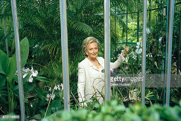 French politician Bernadette Chirac wife of President Jacques Chirac in her orchid greenhouse in the grounds of the Elysée Palace Paris 15th July 2005