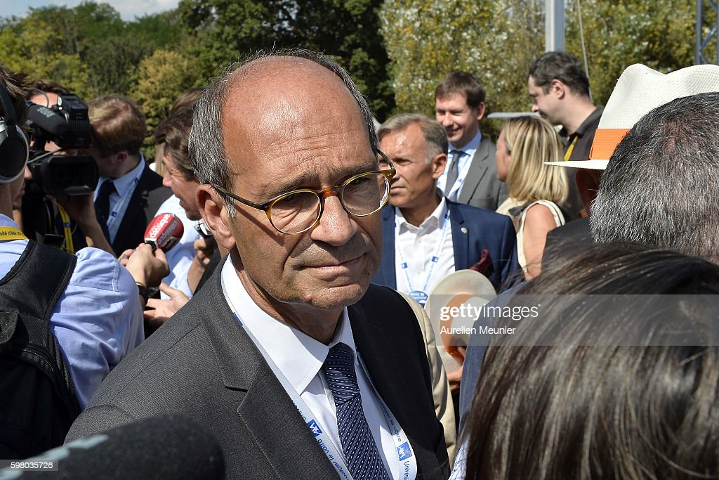 French politician Eric Woerth addresses the press after listening to former French President Nicolas Sarkozy addressing hundreds of political...