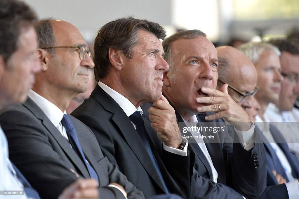 French politician Eric Woerth President of the Regional Council of ProvenceAlpesCte d'Azur Christian Estrosi and Pierre Gattaz President of the Medef...