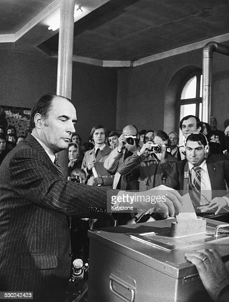 French politician Francois Mitterand putting his vote into a ballot box for the French Presidential Election May 7th 1974