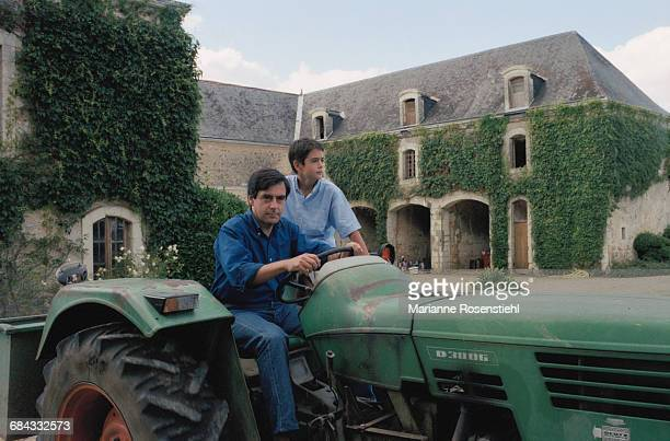 French politician François Fillon with his son Edouard 1st September 2002 Fillon is Minister of Social Affairs Labour and Solidarity in the...