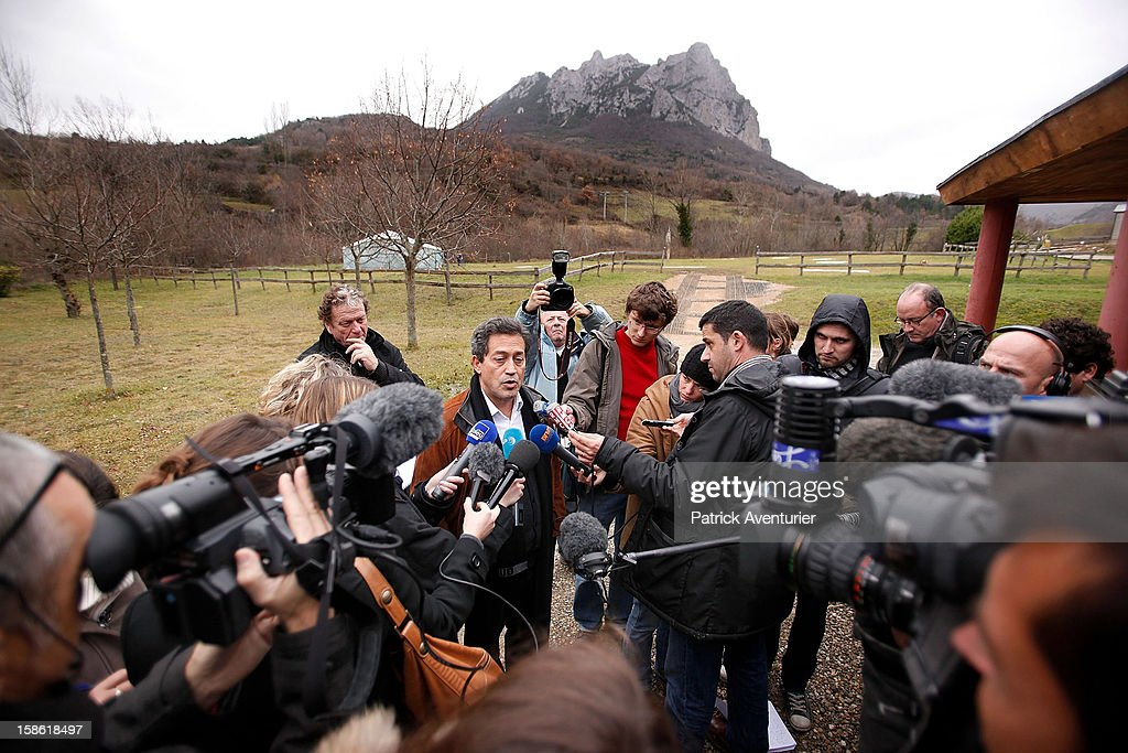 French politician Georges Fenech, president of Mivilude speaks to the media on December 21, 2012 in Bugarach, France. The prophecy of an ancient Mayan calendar claimed that today would see the end of the world, and that Burgarach is the only place on Earth which would be saved from the apocalypse. Miviludes is the French Government's sect watchdog, dedicated to investigating the likelihood of apocalyptic sect activity or ritualised suicides due to the prophecy.