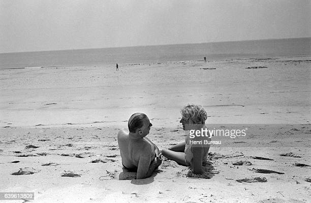French politician Georges Pompidou on vacation with his wife Claude in Brittany