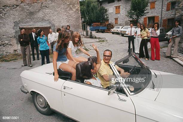 French politician Jacques Chirac and his wife Bernadette with their daughter Claude and a friend during a vacation in Correze