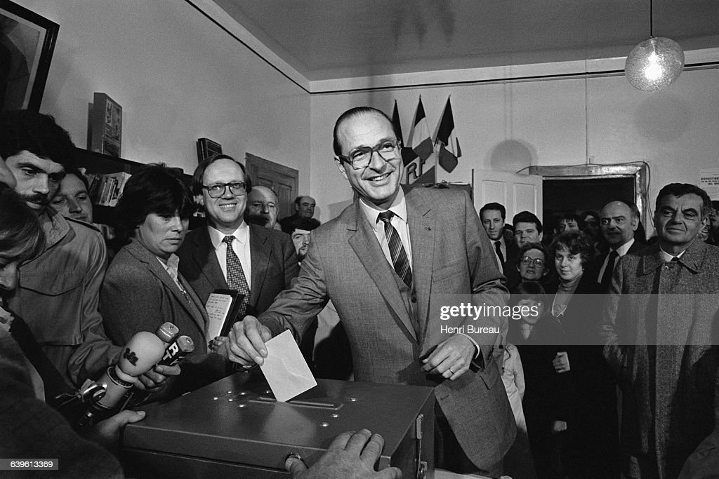 French politician Jacques Chirac during the first round of voting of the French Presidential elections, in the town hall of Sarrans en Correze. | Location: Sarrans, France.