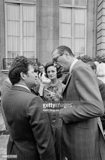 French politician Jacques Chirac talking to union leafder Michel Debatisse at a reception organized by Edgar Faure president of the National Assembly...