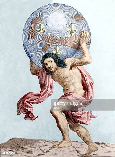 French politician JeanBaptiste Colbert as god Atlas carrying the world on his back engraving
