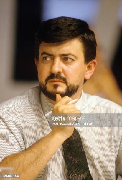 French politician JeanLuc Melenchon at Rennes congress of French Socialist Party on March 18 1990 in Rennes France