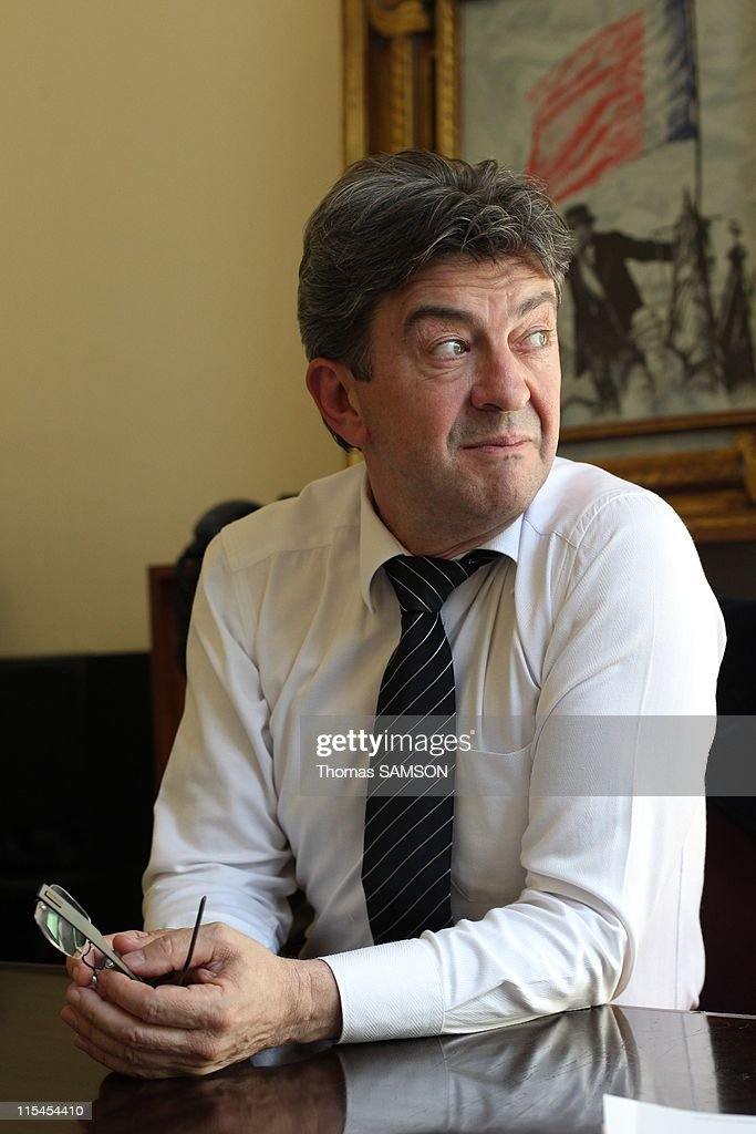 French politician Jean-Luc Melenchon, leader of Left Party (Parti de Gauche) and Communists candidate for the upcoming French presidential election in 2012 during a portrait session on May 17, 2011 in Paris, France. He is pictured in his office at Left Party headquarter in Paris, France on May 17, 2011.
