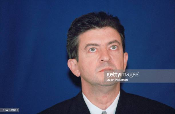 French politician JeanLuc Mélenchon Deputy Minister of professional teaching who came with Jack Lang Education Minister to give New Year wishes to...