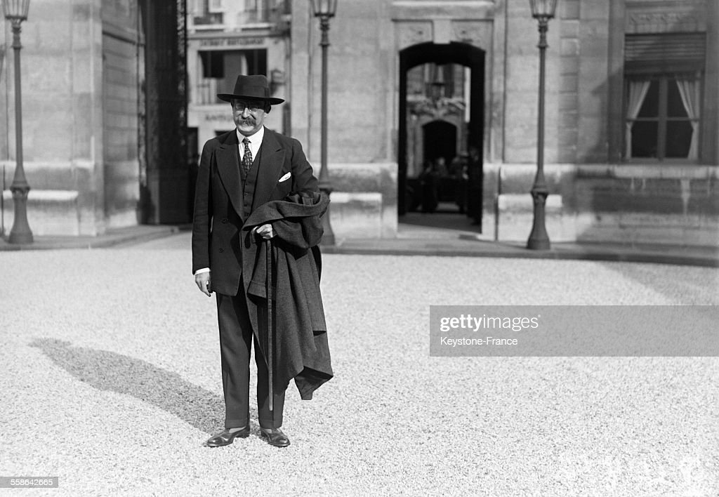 French politician Leon Blum arrives at the Elysee Palace, on October 26, 1929 in Paris, France.