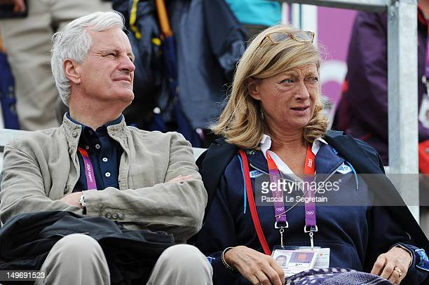 French politician Michel Barnier and his wife Isabelle Barnier at the Show Jumping Eventing Equestrian on Day 4 of the London 2012 Olympic Games at...