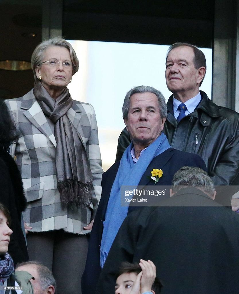 French politician Michele Alliot-Marie and French politician Jean-Louis Debre attend the RBS 6 Nations match between France and Ireland at Stade de France on march 15, 2014 in Paris, France.