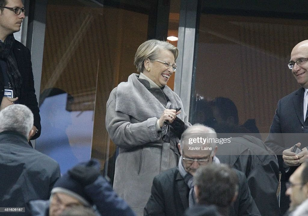 French Politician <a gi-track='captionPersonalityLinkClicked' href=/galleries/search?phrase=Michele+Alliot-Marie&family=editorial&specificpeople=536962 ng-click='$event.stopPropagation()'>Michele Alliot-Marie</a> attends the international test match between France and South Africa at Stade de France on November 23, 2013 in Paris, France.