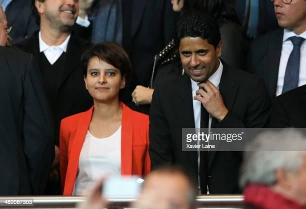 French politician Najat VallaudBelkacem and nasser Alkhelaifi attend the UEFA Champions League Quatrer Finale between Paris SaintGermain FC and...