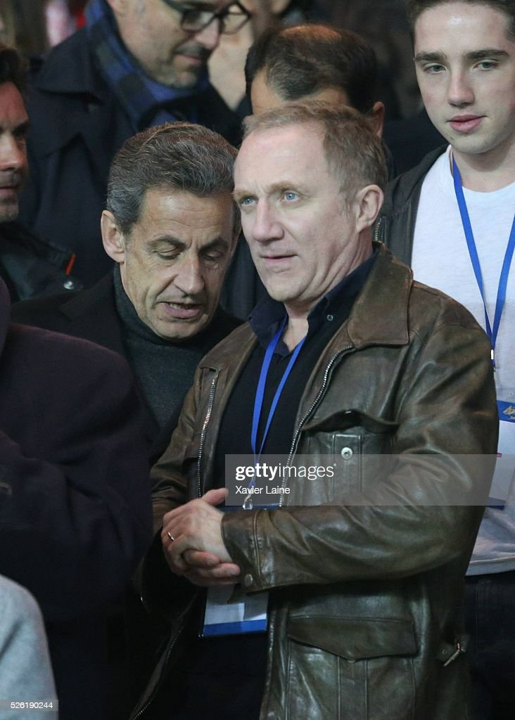 French politician <a gi-track='captionPersonalityLinkClicked' href=/galleries/search?phrase=Nicolas+Sarkozy&family=editorial&specificpeople=211375 ng-click='$event.stopPropagation()'>Nicolas Sarkozy</a> and Franois-Henri Pinault attend the French Ligue 1 match between Paris Saint-Germain and Stade Rennais at Parc des Princes on April 29, 2016 in Paris, France.