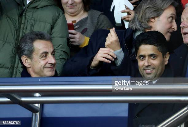French politician Nicolas Sarkozy and President of PSG Nasser AlKhelaifi attend the Ligue 1 match between Paris SaintGermain and FC Nantes at Parc...