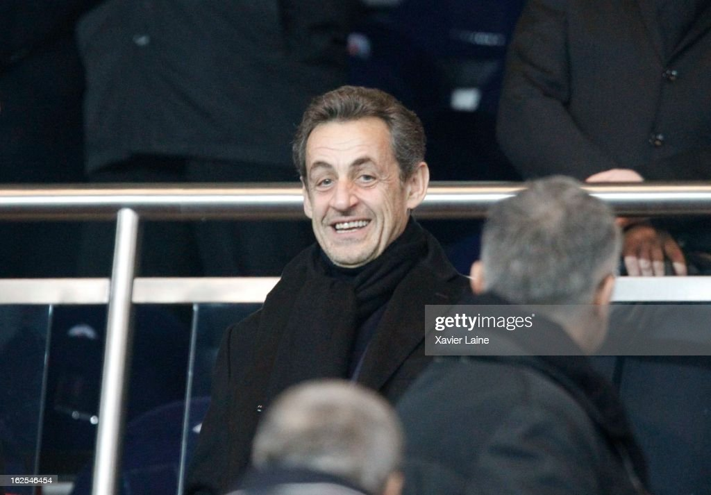 French Politician <a gi-track='captionPersonalityLinkClicked' href=/galleries/search?phrase=Nicolas+Sarkozy&family=editorial&specificpeople=211375 ng-click='$event.stopPropagation()'>Nicolas Sarkozy</a> attends before the French League 1 between Paris Saint-Germain FC and Marseille Olympic OM, at Parc des Princes on February 24, 2013 in Paris, France.