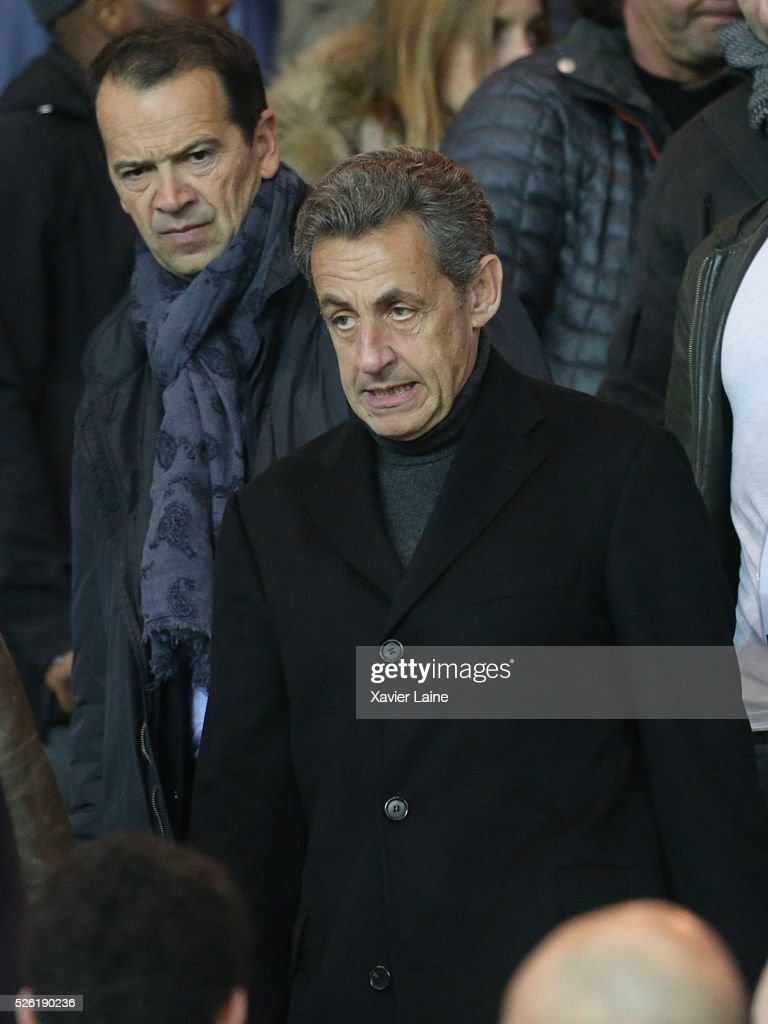 French politician <a gi-track='captionPersonalityLinkClicked' href=/galleries/search?phrase=Nicolas+Sarkozy&family=editorial&specificpeople=211375 ng-click='$event.stopPropagation()'>Nicolas Sarkozy</a> attends the French Ligue 1 match between Paris Saint-Germain and Stade Rennais at Parc des Princes on April 29, 2016 in Paris, France.