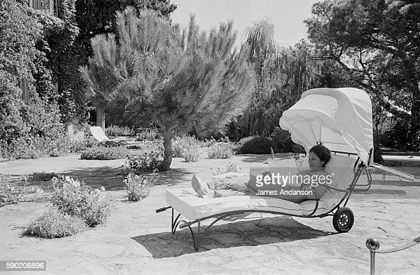 French politician Simone Veil sunbathing in the garden at her home in Sainte Maxime France 10 August 1974