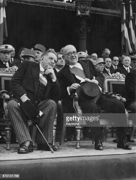 French politicians Édouard Herriot President of the National Assembly of France and Vincent Auriol the President of France watching the 14th July...