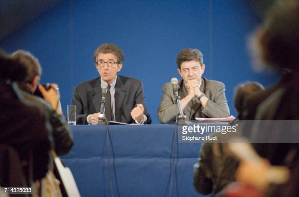 French politicians Jack Lang Education minister and JeanLuc Mélenchon minister of professional teaching hold a press conference 4th April 2000