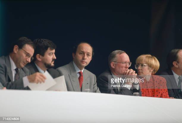 French politicians JeanLuc Mélenchon and Laurent Fabius at a Congress of the Socialist Party in Rennes France 17th March 1990