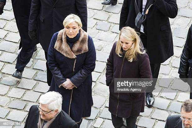 French politicians Marine Le Pen and Marion MarechalLe Pen attend the ceremony held in honor of nine French servicemen killed in a fighter jet...
