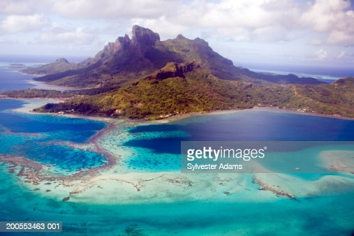 French Polynesia, Bora Bora Island, aerial view