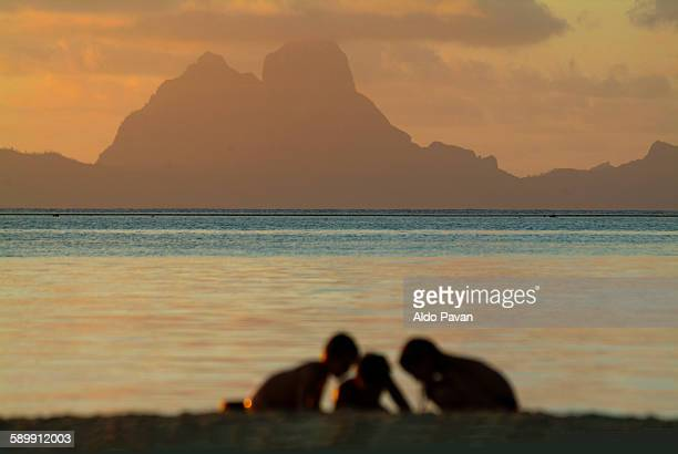 French Polynesia, boys in the beach