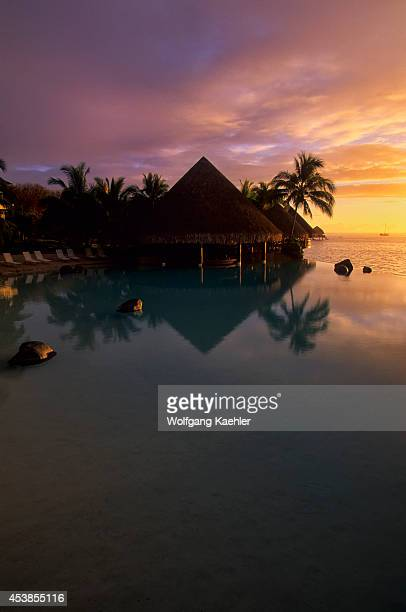French Polynesia Society Islands Tahiti Beachcomber Hotel Endless Pool At Sunset
