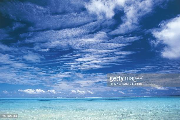 French Polynesia Society Islands Windward Islands Tetiaroa or Marlon Brando's Island clouds over lagoon