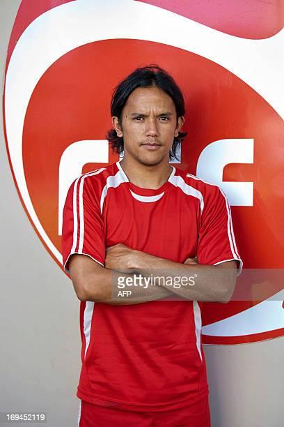 French Polynesian island Tahiti's amateur football team striker and Panathinaikos' professional forward Marama Vahirua poses on May 24 2013 in...