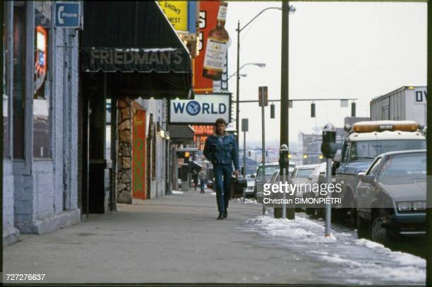 French pop singer and actor Johnny Hallyday making a film for French TV with a crew in Nashville Tennessee January 1984