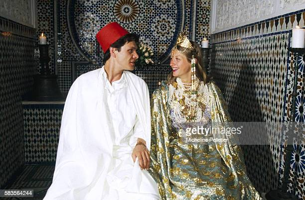 French pop singer Marc Lavoine and Sarah Poniatowski celebrate their wedding in Marrakech where they take the opportunity to dress up in traditional...