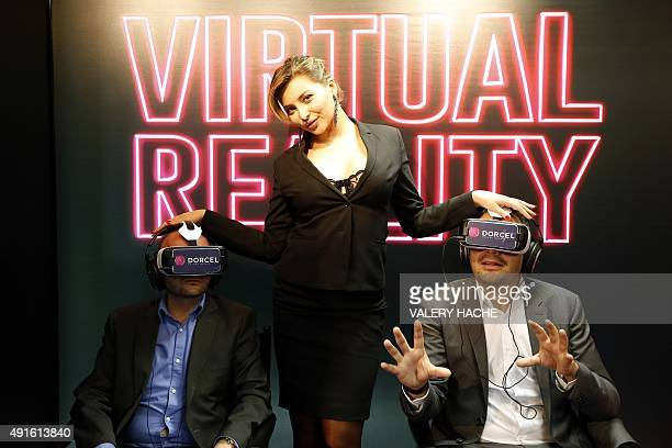 French porn actress Anna Polina poses during a presentation of a short erotic film in virtual reality during the MIPCOM audiovisual trade fair in...