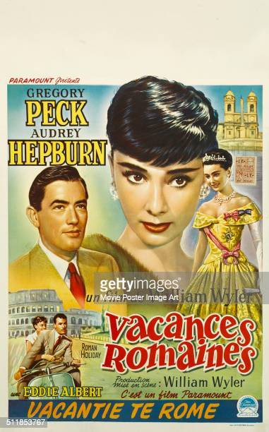 A French poster for William Wyler's 1953 comedy 'Roman Holiday' starring Audrey Hepburn and Gregory Peck
