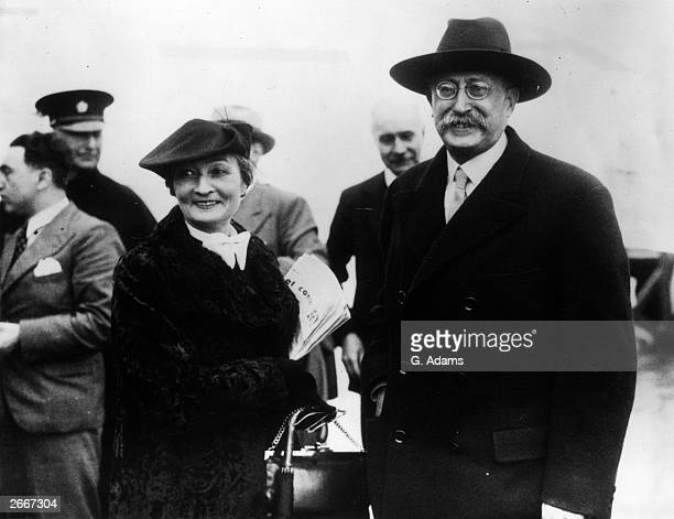 French premier Leon Blum and his wife on arrival at Croydon Aerodrome M Blum is heading the French delegation in the Three Power conference held in...
