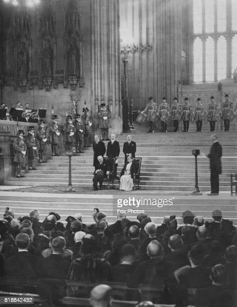 French president Albert François Lebrun and his wife listen to the address of welcome in Westminster Hall in the Houses of Parliament during a visit...