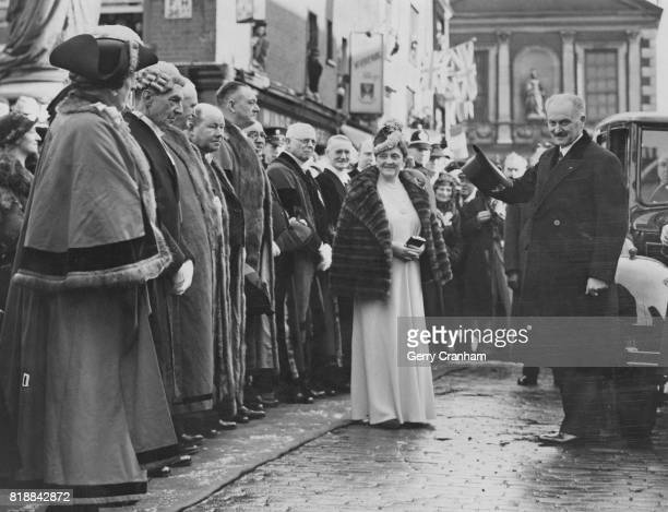 French president Albert François Lebrun and his wife visit Windsor and meet the Windsor Corporation UK 23rd March 1939