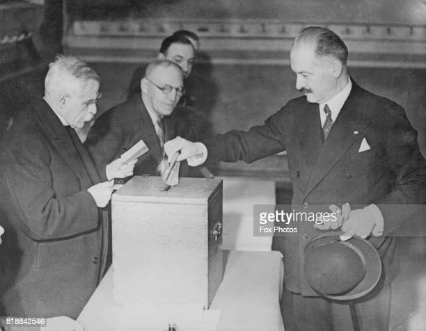 French president Albert François Lebrun casts his vote in the French election in Paris France 26th April 1936