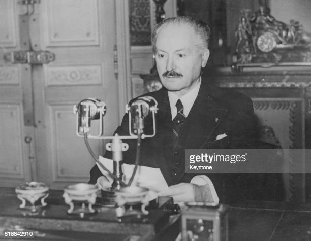 French president Albert François Lebrun during his Armistice Day speech broadcast from the Elysee Palace in Paris France 15th November 1939