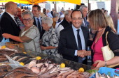 French President and former Socialist President of the Correze department General Council Francois Hollande shakes hands with a person during a visit...